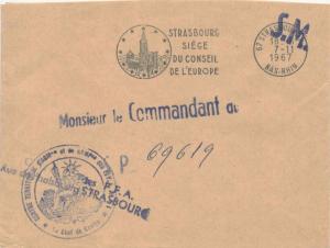 France Military Free Mail 1967 Stralbourg, Bas-Rhin Strasbourg Siege du Conse...