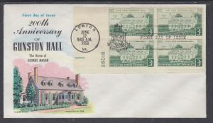 US Mel 1117-12 FDC. 1958 8c Lajos Kossuth, Fluegel Cachet w/ Plate Block, VF