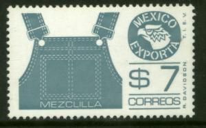 MEXICO Exporta 1122a, $7P Overalls Blue-gray Fluor Paper 7. MINT, NH. VF.