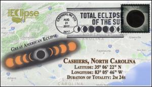 17-258, 2017, Total Solar Eclipse, Cashiers NC, Event Cover, Pictorial Cancel,