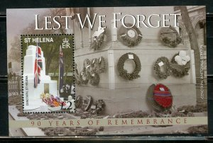 ST.HELENA LEST WE FORGET 90th ANN OF WORLD WAR I SCOTT #970/75 S/SHEET MINT NH