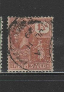 VIRGIN ISLANDS #56  1927  1 1/2p COLONY SEAL      F-VF  USED