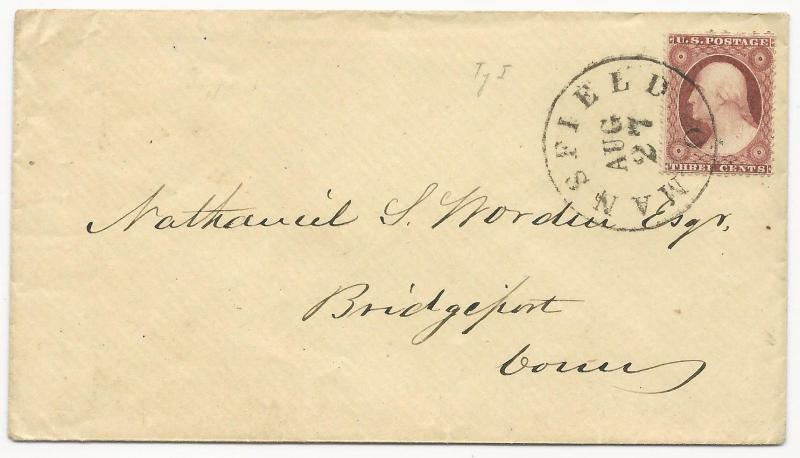 US 19th Century Cover Scott #25 Tied by Black CDS Mansfield, OH 185(8)