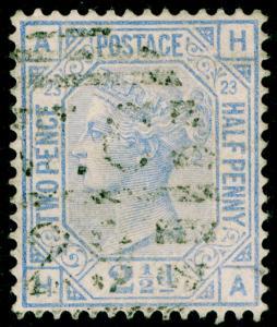 SG157, 2½d blue PLATE 23, USED. Cat £32. HA