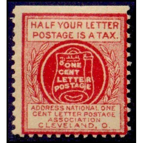 US - National One Cent Letter Postage Association Stamp - Type IV (#6)