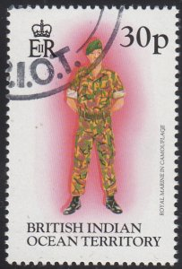 BIOT 1996 used Sc #187 30p Royal Marine in camouflage Uniforms