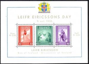 Iceland Sc# B6 MH Souvenir Sheet 1938 Leif Ericsson Day
