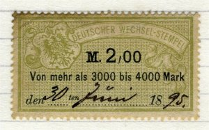 GERMANY; 1880s-90s classic early Bill Stamp fine used 2M. value
