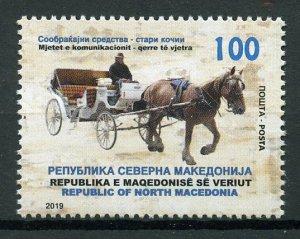 Macedonia 2019 MNH Horse & Carriage 1v Set Transport Horses Stamps