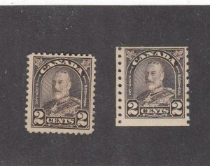 CANADA (MK6697) # 166-MH/ #182-MNH  2cts 1931 KGV ARCH/LEAF/1 COIL /BROWN CV $43