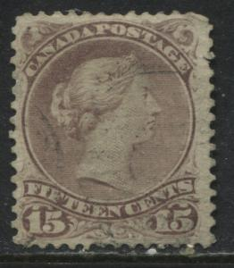 Canada 1868 15 cents red lilac Large Queen used