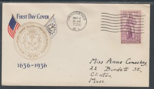 US Planty 777-72 FDC. 1936 3c Roger Williams, Gold Seal FIRST CACHET by Pumpton