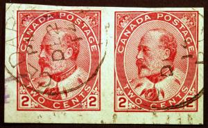 Canada #90a 2c Carmine 1903-08 King Edward VII VF Used Imperf Pair Rare