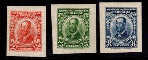 Uruguay Scott 391-393 MH* Imperforate stamp set