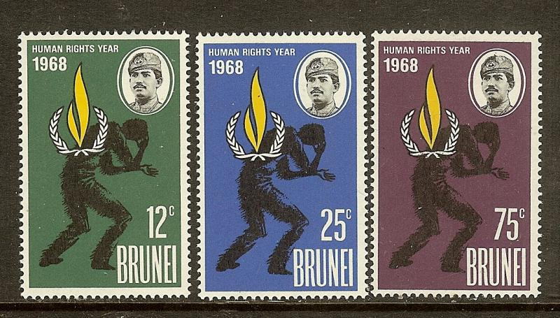 Brunei, Scott #'s 147-149, Intl Human Rights Year, MNH