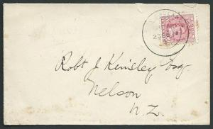 COOK ISLANDS 1903 1d on cover Rarotonga to Nelson NZ................38908