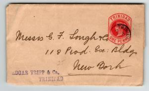 Trinidad Victorian Postal Wrapper to New York (I) - Z13711