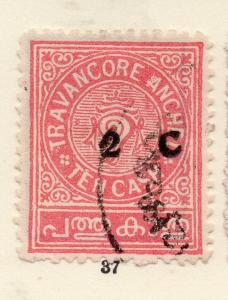 Travancore 1930s Early Issue Fine Used 2c. Surcharged 268210