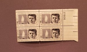 1246, John F Kennedy, Plate Block UR, Mint OGNH