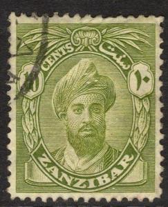 ZANZIBAR SG304 1926 10c OLIVE-GREEN FINE USED