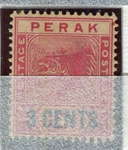 MALAYA PERAK; 1895 early classic Tiger issue Mint unused 3 CENTS value
