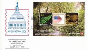 New Zealand 2006 FDC Washington World Philatelic Exhibition Sheet of 2 plus l...