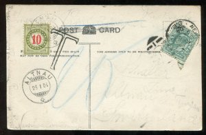 3870 - SWITZERLAND 1903 Postage Due Stamp on Postcard from ENGLAND