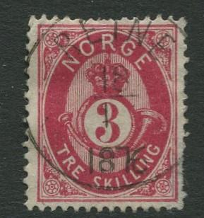 Norway - Scott 18a - Post Horn & Crown - 1872 - Used- Single 3s Stamp