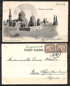 EGYPT STAMPS. 1902. POSTCARD TO ALGERIA