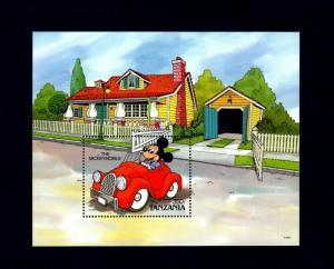 TANZANIA - 1990 - DISNEY - MICKEY MOUSE - MICKEY MOBILE - CAR - MINT NH S/SHEET!