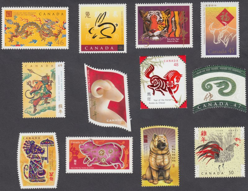 Canada - #1630/2257 -  Chinese New Year Set of 12 Stamps - 1st Series - MNH