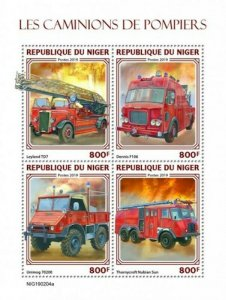 Niger - 2019 Fire Engines on Stamps - 4 Stamp Sheet - NIG190204a