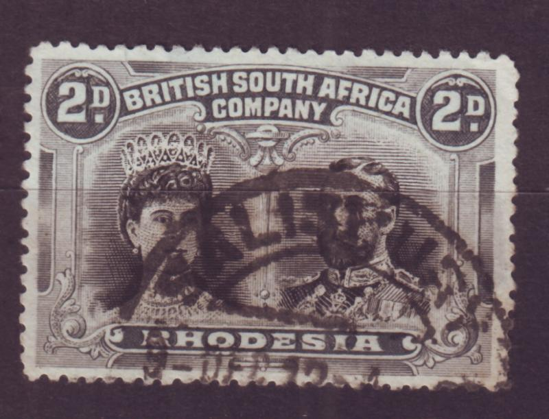 J17088 JLstamps 1910 rhodesia used #103 king and queen