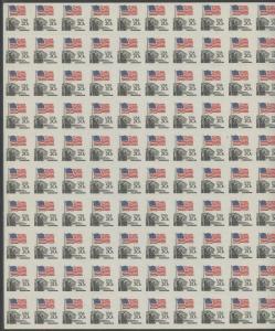 #1895e 20¢ FLAG ISSUE IMPERF HORIZONTALLY MAJOR ERROR (40 PAIRS) CV $32K WLM555