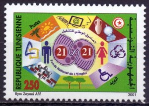 Tunisia. 2001. 1497. National Employment Fund. MNH.