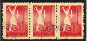 Yugoslavia / Trieste Zone B - Sc# 3a/ Strip of 3 Favor Cancel / Lot 0318286