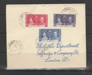 St Lucia 1937 Coronation Cover ( Not First day) Selfridges cover, Castries cds
