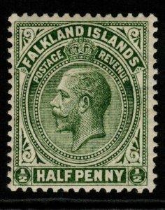 FALKLAND ISLANDS SG60 1912 ½d YELLOW-GREEN MTD MINT