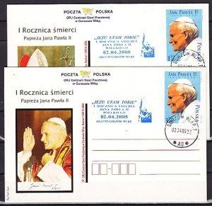 Poland, Scott cat. 3772. Pope John Paul on 2 Post Cards. ^