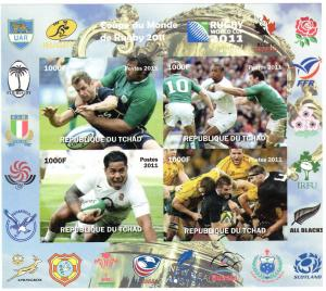 Chad 2011 Rugby World Cup Shlt (4) Imperforated MNH VF