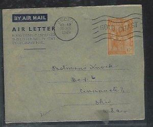 GOLD COAST (P2708B)  1949   KGVI 6D AEROGRAM  ACCRA TO USA
