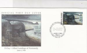 Marshall Islands 1994 D-Day Landings Normandy Pic + Stamp FDC Cover Ref 32036