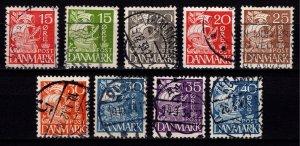 Denmark 1933-41 Caravel Def., quadrille background, Part Set [Used]