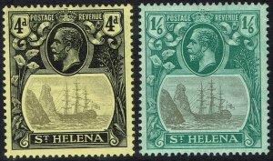 ST HELENA 1922 KGV SHIP 4D AND 1/6 WMK MULTI CROWN CA