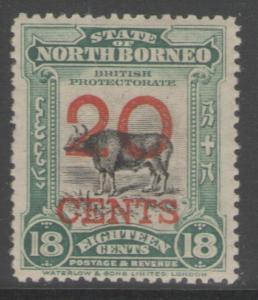 NORTH BORNEO SG177a 1909 20c on 18c BLACK & BLUE-GREEN p14½-15 MTD MINT