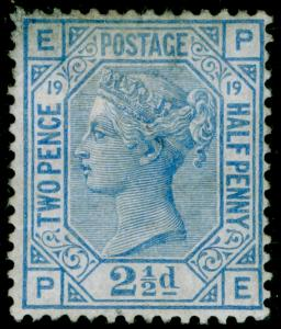 SG142, 2½d blue plate 19, M MINT. Cat £575. PE