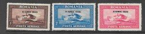 Romania Scott C7 - C9 Bi-plane O/P air mail stamps 2017 CV $24.00