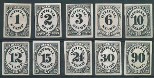 USA POST OFFICE DEPT set of 10 OFFICIALS : PROOFS ON CARD..................10243