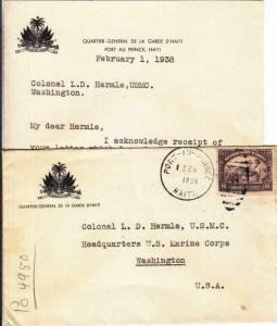 1938, Port-A-Prince, Haiti to Col. Hermle, HQ, USMC, See Remark (23268)