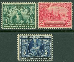 EDW1949SELL : USA 1907 Scott #328-30 Mint Original Gum Hinged. Catalog $162.00.